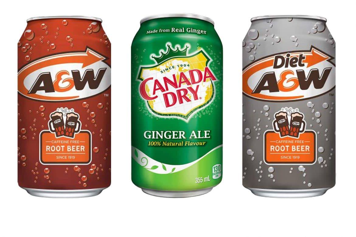 Three American Soda cans, specifically A&W Root beer, diet A&W root beer and Canada Dry soda